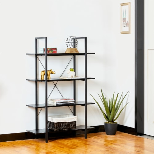 Glitzhome Modern Industry Metal/Wooden 4-Tier Bookcase & Shelves - Black Perspective: right