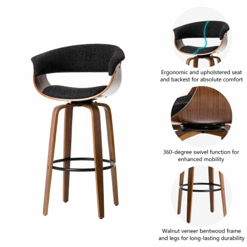 Glitzhome Mid-Century Modern PU Leather Bentwood Swivel Bar Chair - Oak/Gray Perspective: right