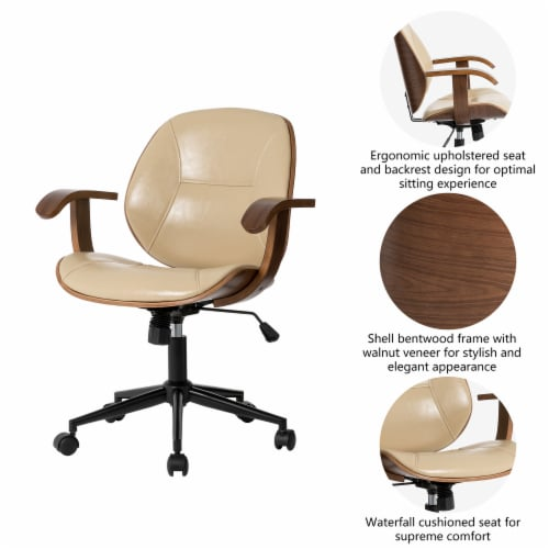 Glitzhome PU Leather Adjustable Swivel Desk Chair - Cream Perspective: right