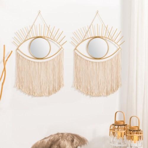 Glitzhome Regency Modern Boho Tasselled Metal Eye Mirrors Perspective: right