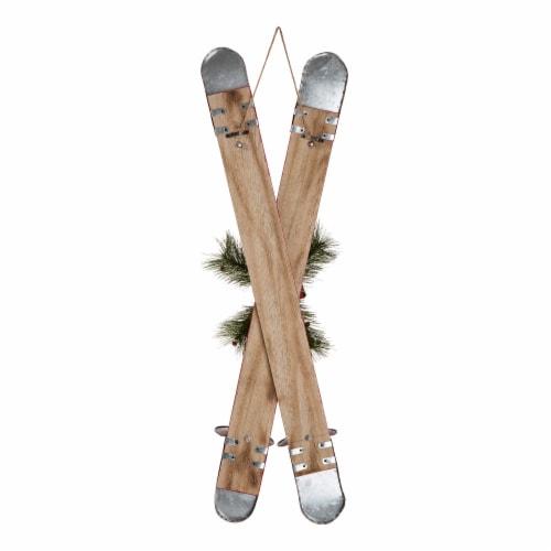Glitzhome Red Wooden/Galvanized Ski Porch Décor Perspective: right