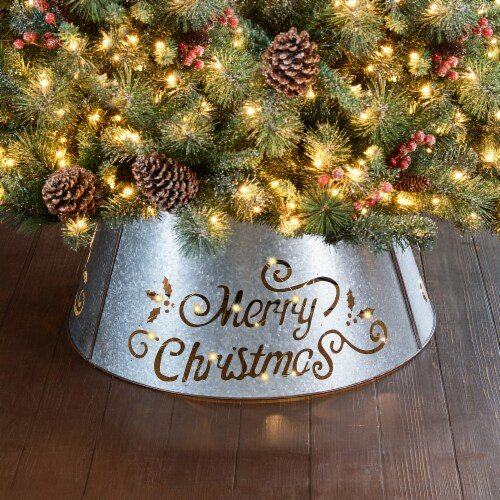 """Glitzhome Galvanized """"Merry Christmas"""" Cutout Metal Tree Collar with Light String - Silver Perspective: right"""