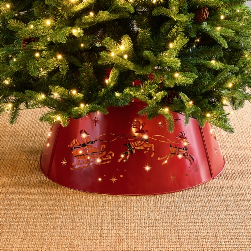 Glitzhome Galvanized Metal Santa on Sleigh Tree Collar with Light String - Red Perspective: right