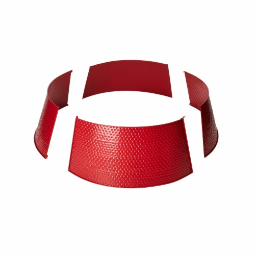 Glitzhome Christmas Red Hammered Metal Tree Collar Perspective: right