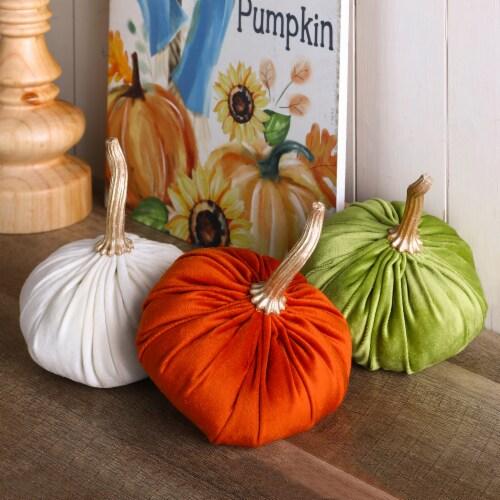 Glitzhome Orange White & Green Velvet Pumpkins Decor Perspective: right
