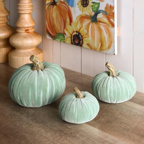 Glitzhome Mint Green Resin Pumpkins Decor Perspective: right