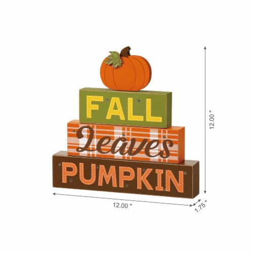 Glitzhome LED Lighted Fall Wooden Block Word Sign Perspective: right