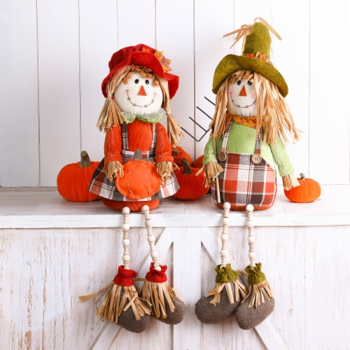 Glitzhome Fall Fabric Scarecrow Shelf Sitters Perspective: right