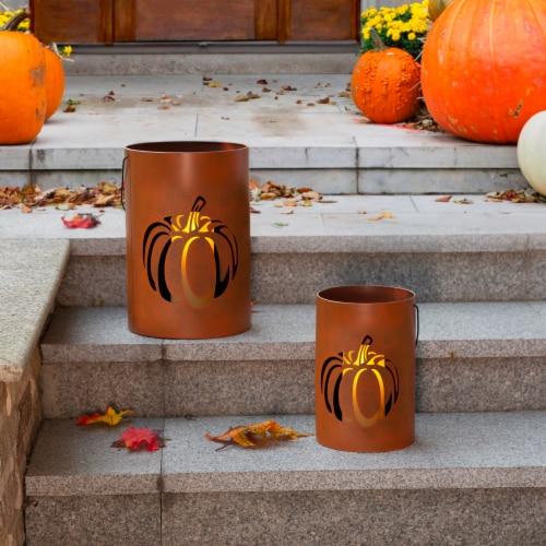 Glitzhome Metal Cutout Pumpkin Buckets Perspective: right