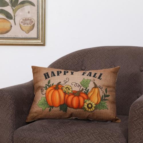 Glitzhome Faux Burlap Fall Pumpkin Pillow Perspective: right