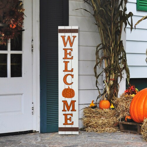 Glitzhome Seasonal Pumpkin Welcome Wooden Porch Sign Perspective: right