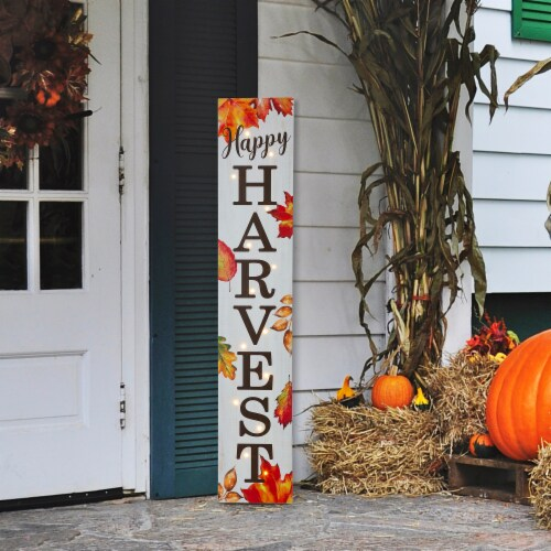 Glitzhome Lighted Happy Harvest Wooden Porch Sign Perspective: right