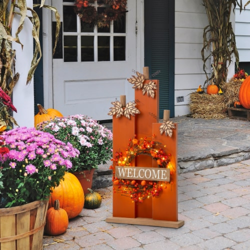Glitzhome Fall Lighted Wooden Pumpkin with Wreath Decor Perspective: right