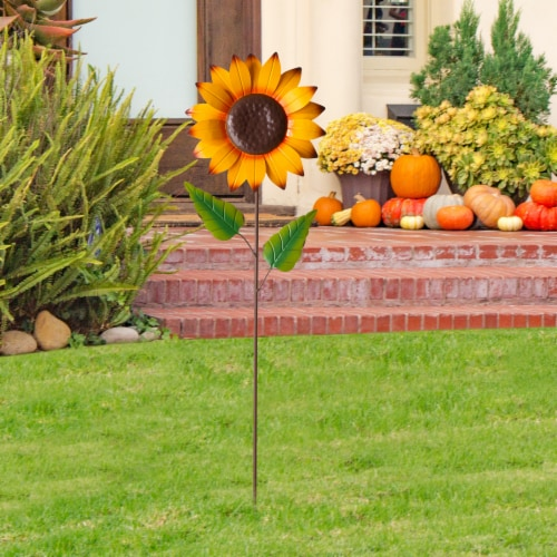 Glitzhome Fall Metal Fully Bloomed Sunflower Yard Stake Perspective: right