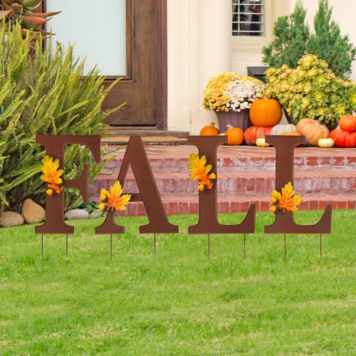 Glitzhome Metal Fall Yard Stake Decor Perspective: right