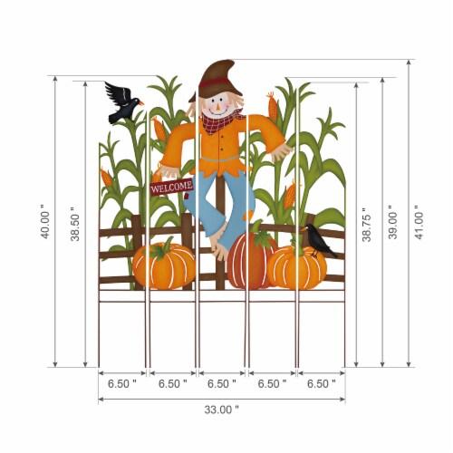 Glitzhome Fall Metal Scarecrow & Corn Farmhouse Yard Stake Perspective: right