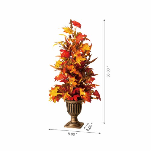 Glitzhome Fall Lighted Maple Leaves Potted Tree with Lights Perspective: right