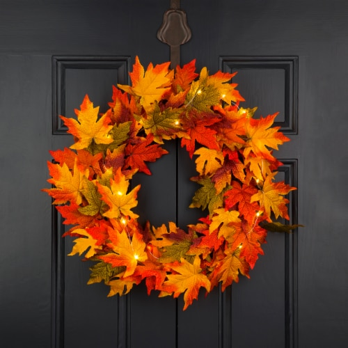 Glitzhome Fall Lighted Maple Leaves Wreath Perspective: right