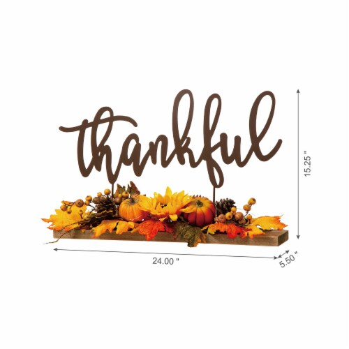 Glitzhome Lighted Floral Thankful Metal Table Decor Perspective: right