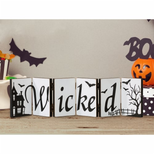 Glitzhome Halloween Wooden Hinged Table Sign Perspective: right