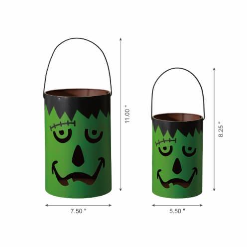 Glitzhome Green / Black Metal Frankenstein Lantern Decor Perspective: right