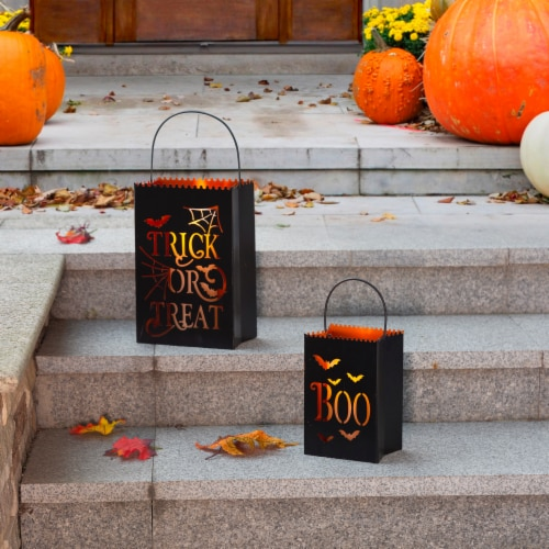 Glitzhome Halloween Metal Trick or Treat Buckets Perspective: right