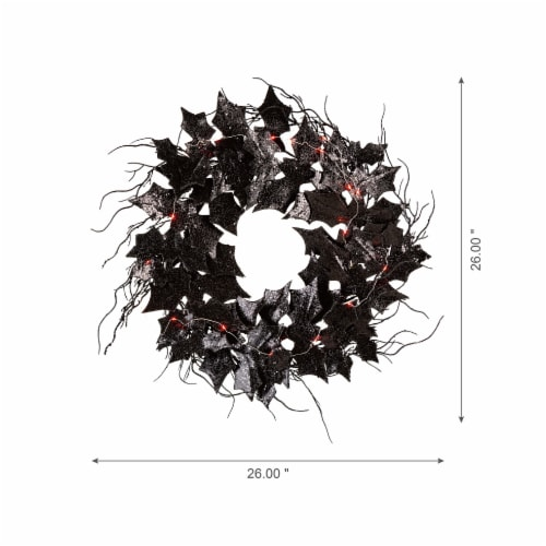 Glitzhome Lighted Halloween Bat Wreath Perspective: right