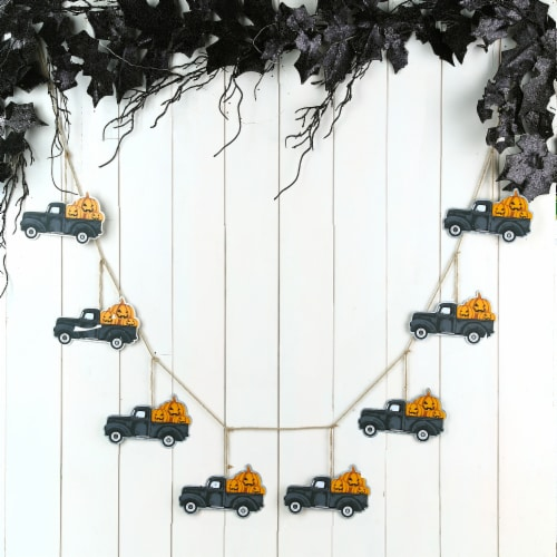 Glitzhome Halloween Metal Trucks Garland Perspective: right