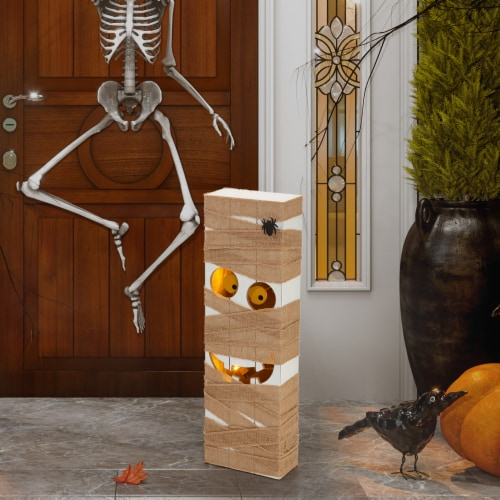 Glitzhome Lighted Wooden Mummy Porch Decor Perspective: right