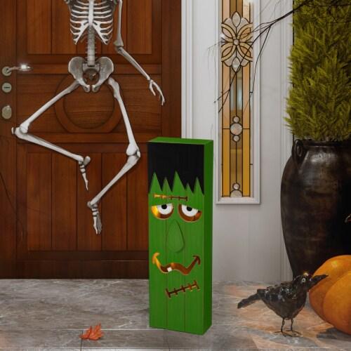 Glitzhome Lighted Wooden Frankenstein Porch Decor Perspective: right