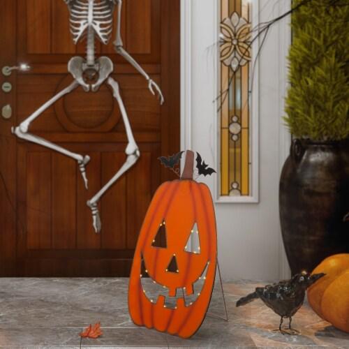 Gltizhome Lighted Metal Pumpkin Cutout Porch Decor Perspective: right