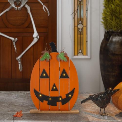 Glitzhome Lighted Wooden Pumpkin Porch Decor Perspective: right