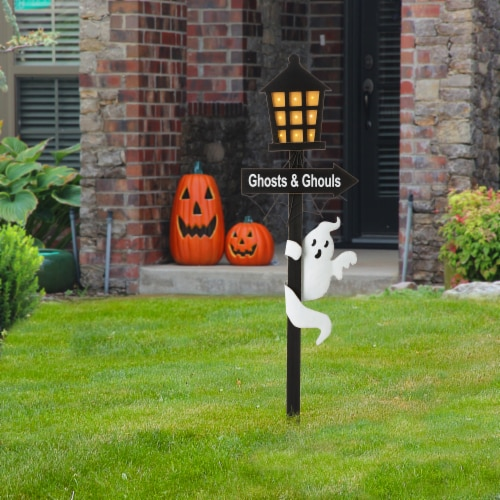 Glitzhome Light Up Halloween Wooden Haunted House Yard Stake Perspective: right
