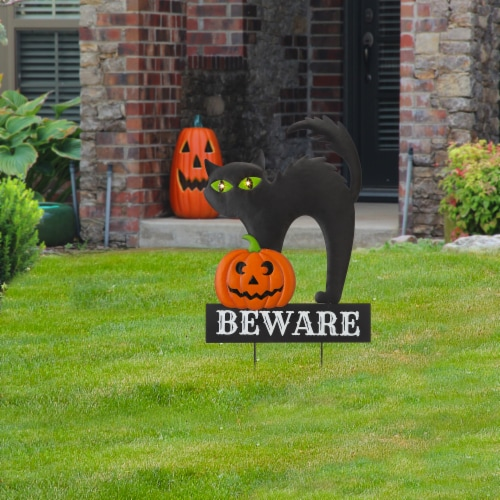 Glitzhome Light Up Halloween Metal Black Cat Yard Stake Perspective: right