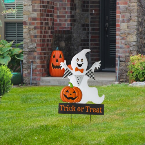 Glitzhome Lighted Halloween Metal Ghost Yard Stake Perspective: right