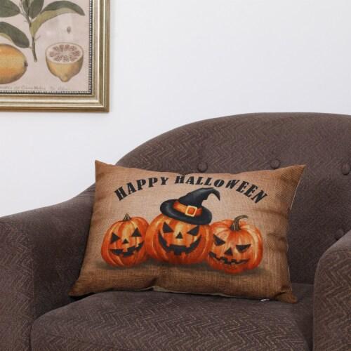 Glitzhome Faux Burlap Happy Halloween Pumpkin Pillow Perspective: right