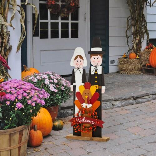 Glitzhome Wooden Pilgrim Couple with Turkey Porch Decor Perspective: right