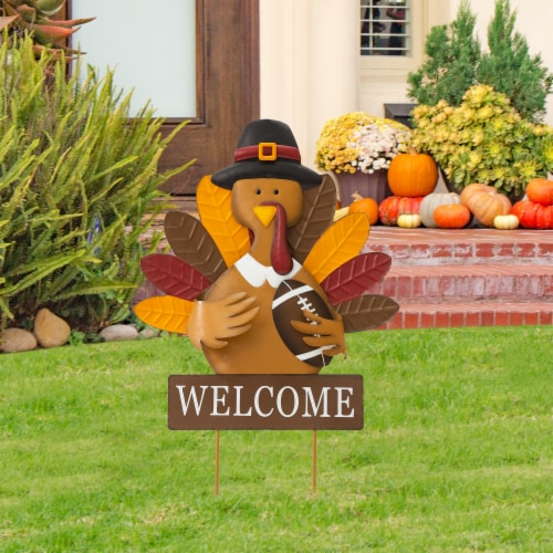 Glitzhome Thanksgiving Metal Turkey Yard Stake Decor Perspective: right