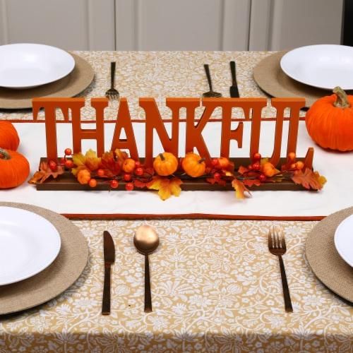 Glitzhome Thankful Orange Wooden Table Decor Perspective: right