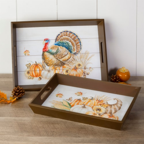 Glitzhome Wooden Turkey Serving Tray Perspective: right