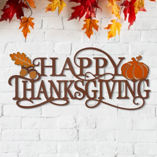 Glitzhome Happy Thanksgiving Metal Wall Decor Perspective: right