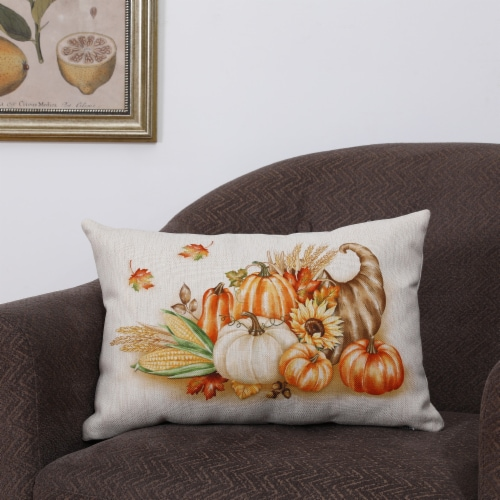 Glitzhome Faux Burlap Thanksgiving Croissant Pillow Perspective: right