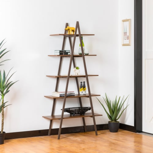 Glitzhome Modern Industry Metal/Wooden 5-Tier A Frame Bookcase & Shelves - Brown Perspective: right