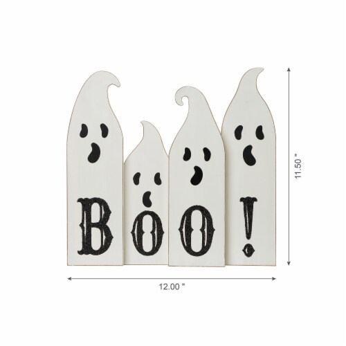 Glitzhome Halloween Boo! Wooden Ghost Table Decor Perspective: right