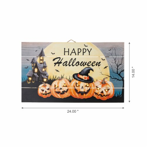 Glitzhome Happy Halloween Wooden Wall Decor With Warm White LED Lights Perspective: right