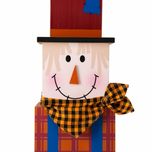 Glitzhome Jack-O-Lantern and Scarecrow Double Sided Wooden Porch Decor Perspective: right