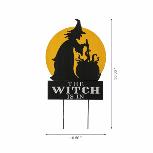 Glitzhome Halloween The Witch Is In Yard Stake Decor Perspective: right