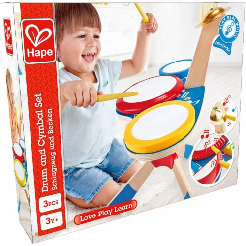 Hape Drum and Cymbal Instrument Play Set w/ 2 Drum Sticks for Kids Ages 3 and Up Perspective: right