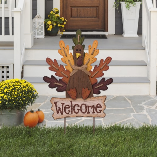 Glitzhome Burlap/Wooden Turkey Welcome Sign Perspective: right