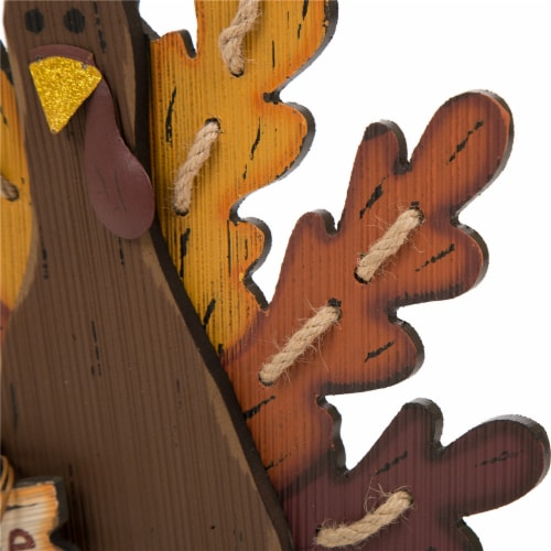 Glitzhome Burlap/Wooden Turkey Thanksgiving Table Decoration Perspective: right